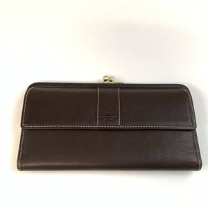 Coach Wallet Button Shut Solid Brown Leather